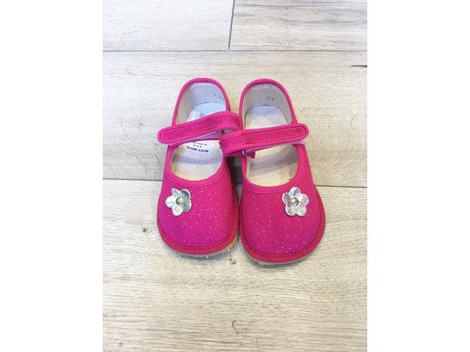 Papučky s kvietkom - ružové - Boty Beda