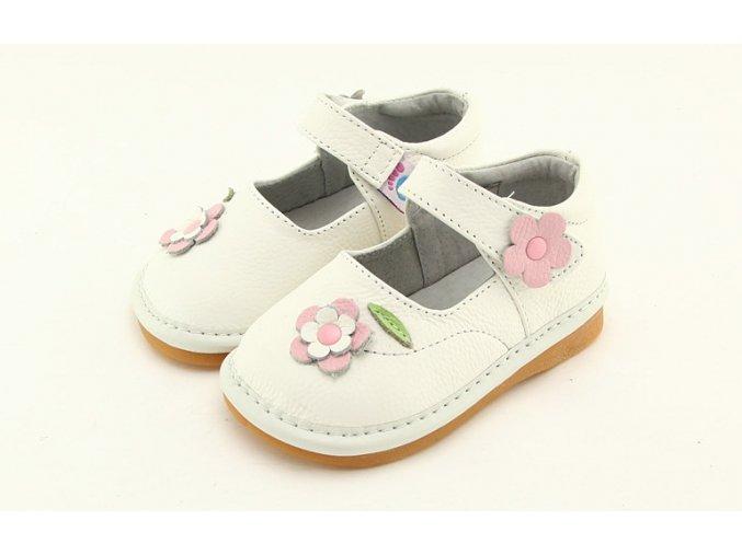 Biele topánočky s kvietkom - Freycoo