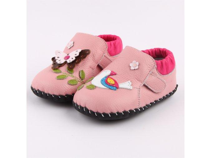 Topánočky Vtáčik - ružová - Freycoo