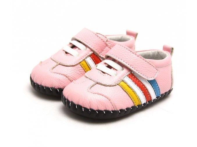 Športové topánočky s pásikmi - ružová - Freycoo