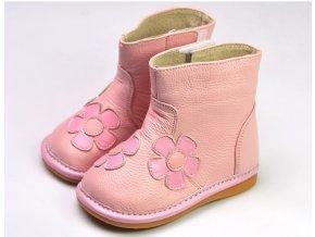 Čižmičky s kvetmi - ružová - Freycoo